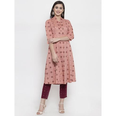 Ayaany - Pink Colored Casual Wear Printed Cotton Kurti