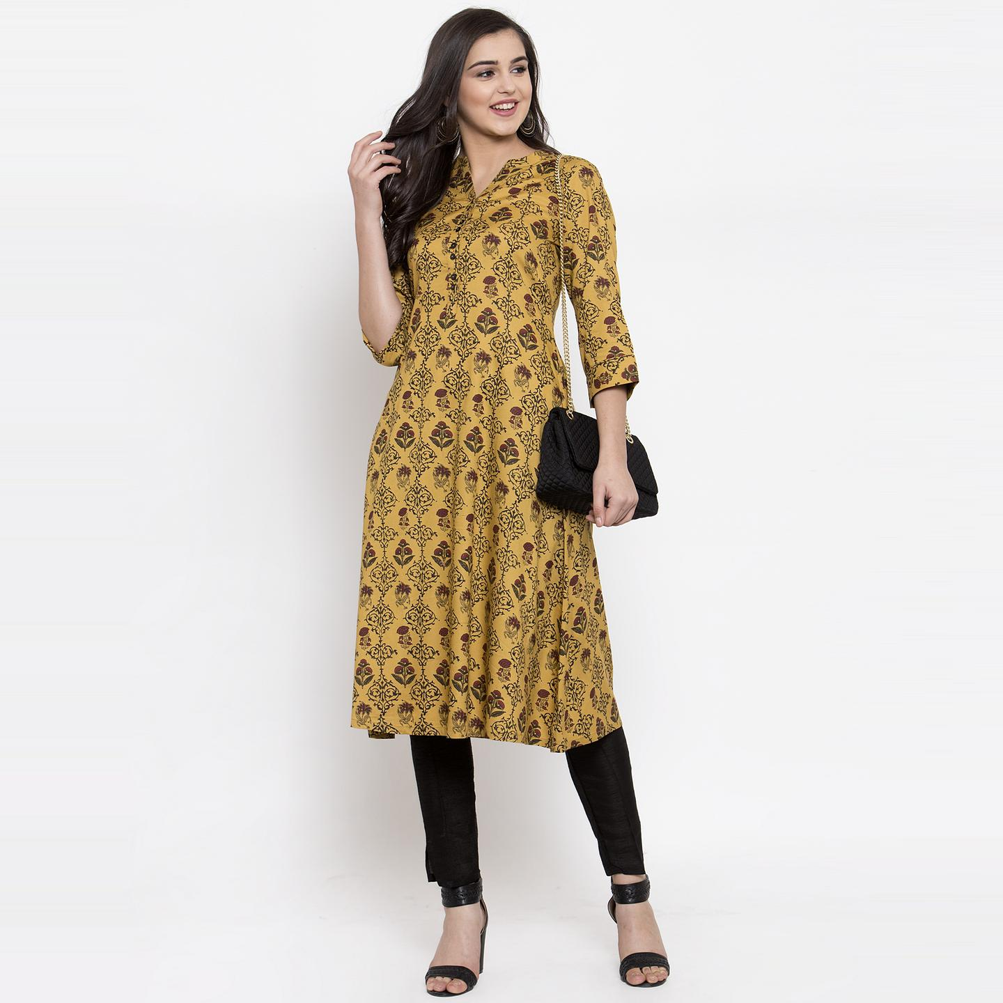 Ayaany - Mustard Colored Casual Wear Printed Cotton Kurti