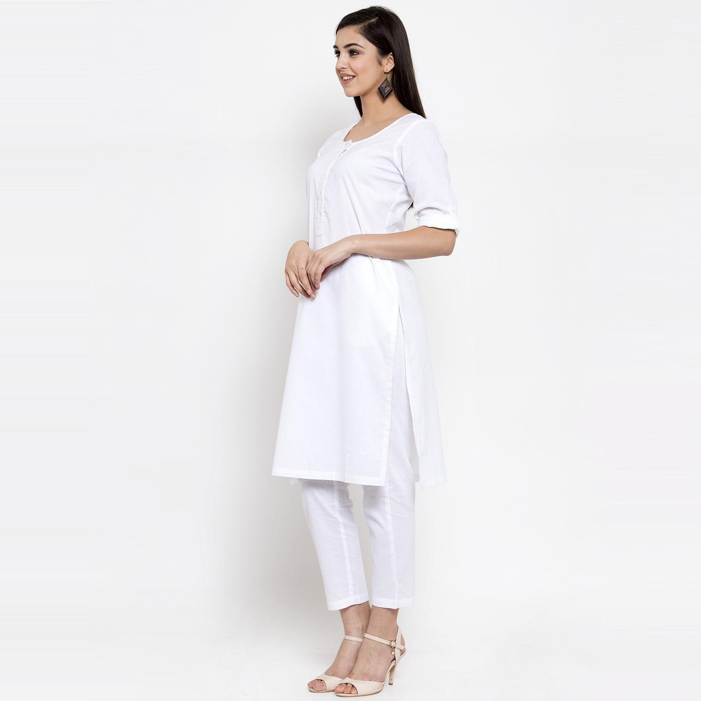 Ayaany - White Colored Casual Wear Cotton Kurti
