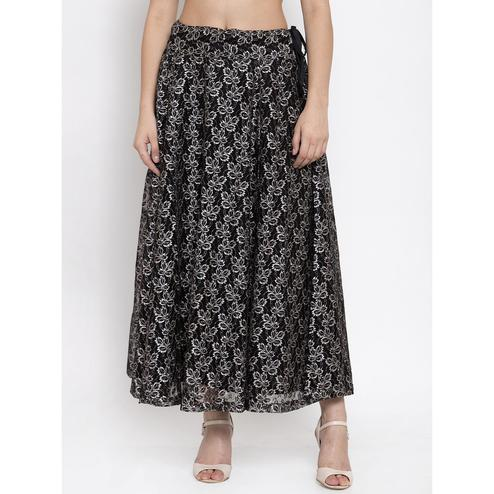 Ayaany - Black Colored Casual Wear Polyester Skirt