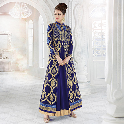 Blue Georgette Designer Embroidered Indowestern Suit