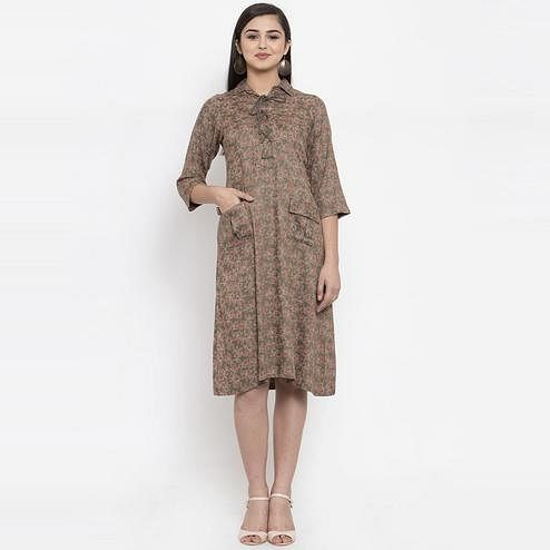 Ayaany - Green Colored Casual Wear Printed Cotton Dress
