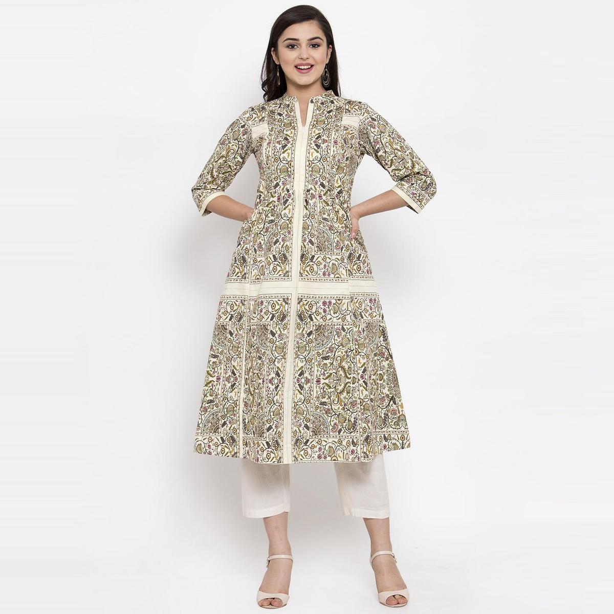 Ayaany - Cream Colored Casual Wear Printed Cotton Dress