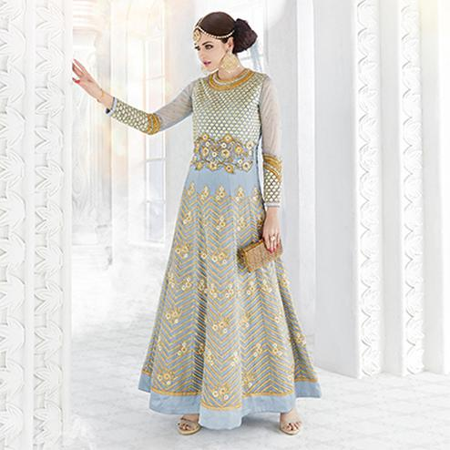 Gray Georgette And Net Designer Embroidered Anarkali Suit