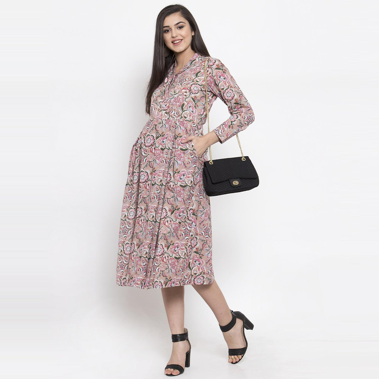 Ayaany - Beige Colored Casual Wear Printed Cotton Dress