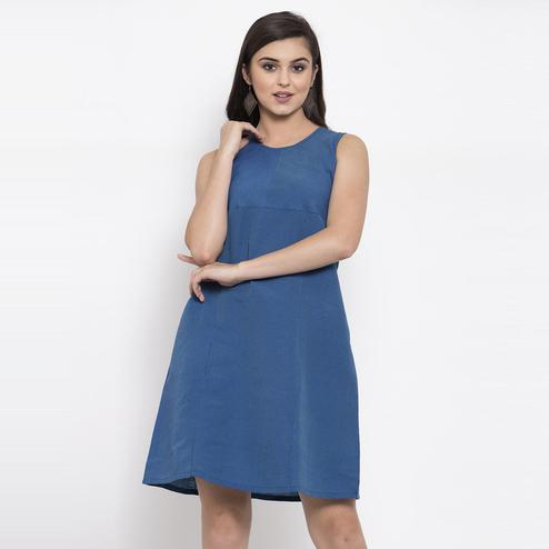 Ayaany - Blue Colored Casual Wear Cotton Dress