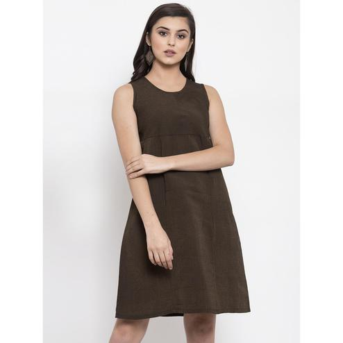 Ayaany - Brown Colored Casual Wear Cotton Dress