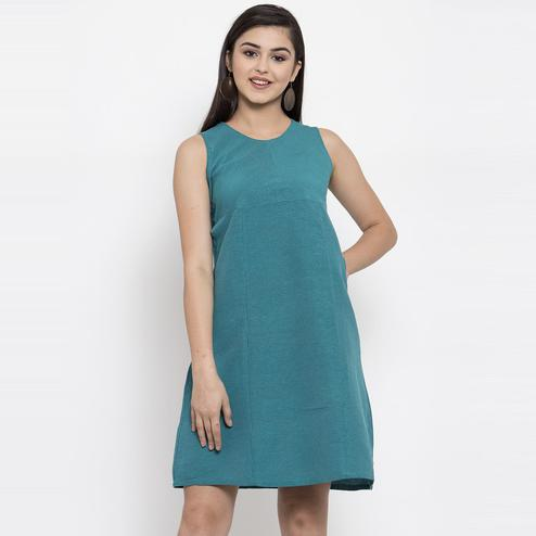 Ayaany - Green Colored Casual Wear Cotton Dress