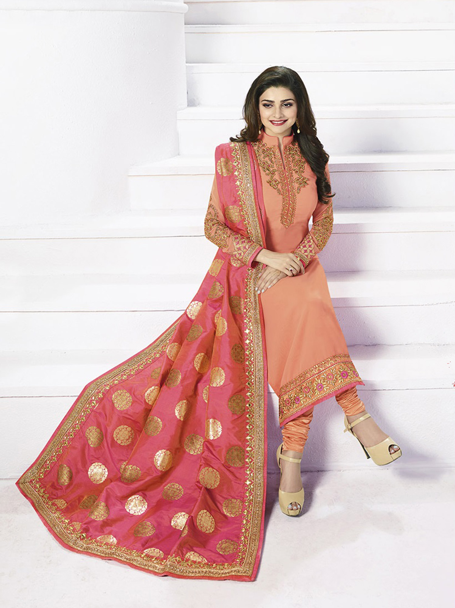 Peach Embroidered Churidar Suit