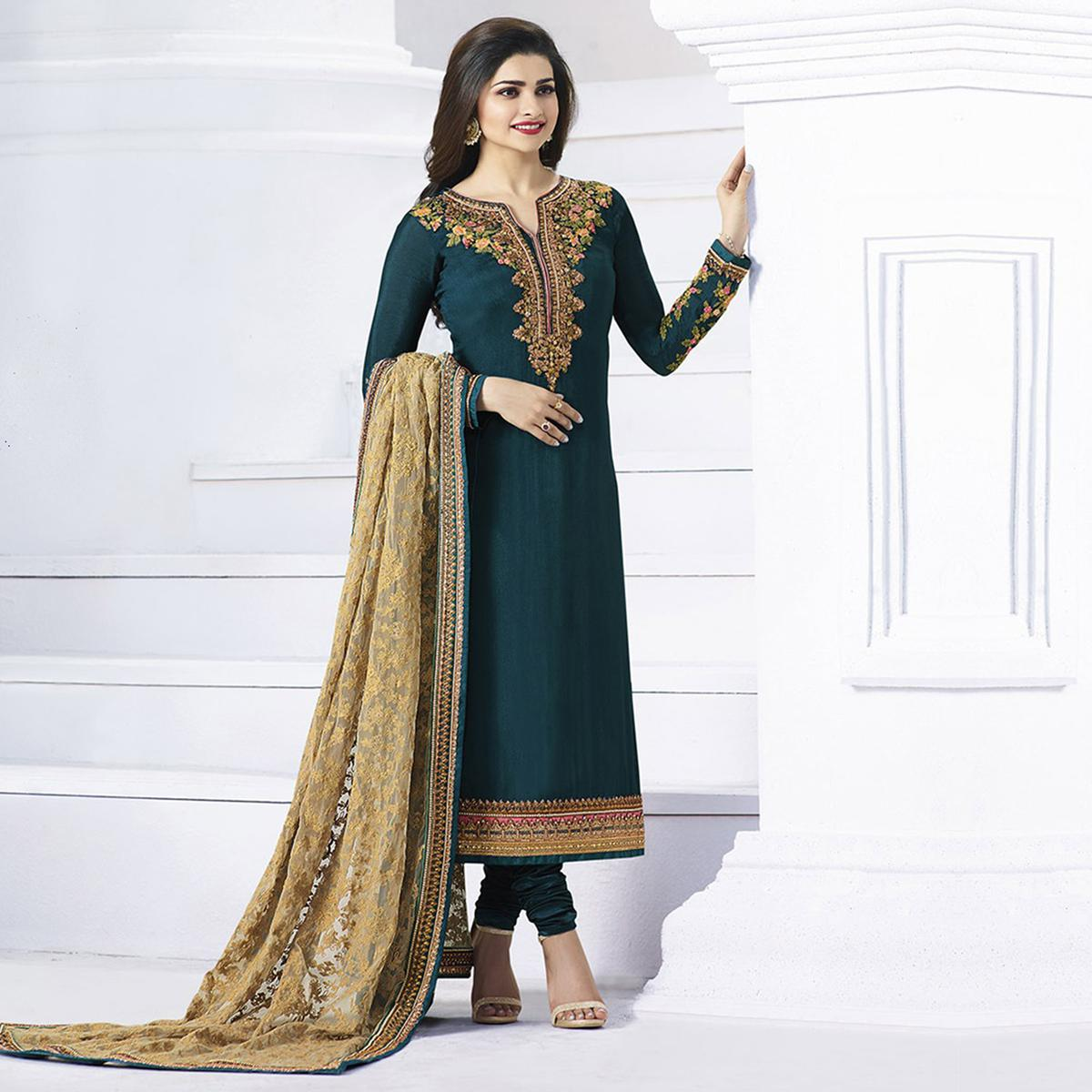 Dark Green Georgette Long Length Suit