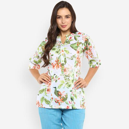 Ayaany - Multi Colored Casual Wear Printed Pure Cotton Top