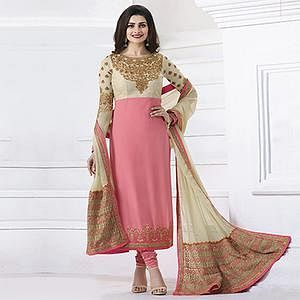 Cream - Pink Designer Suit with Heavy Embroidered Dupatta
