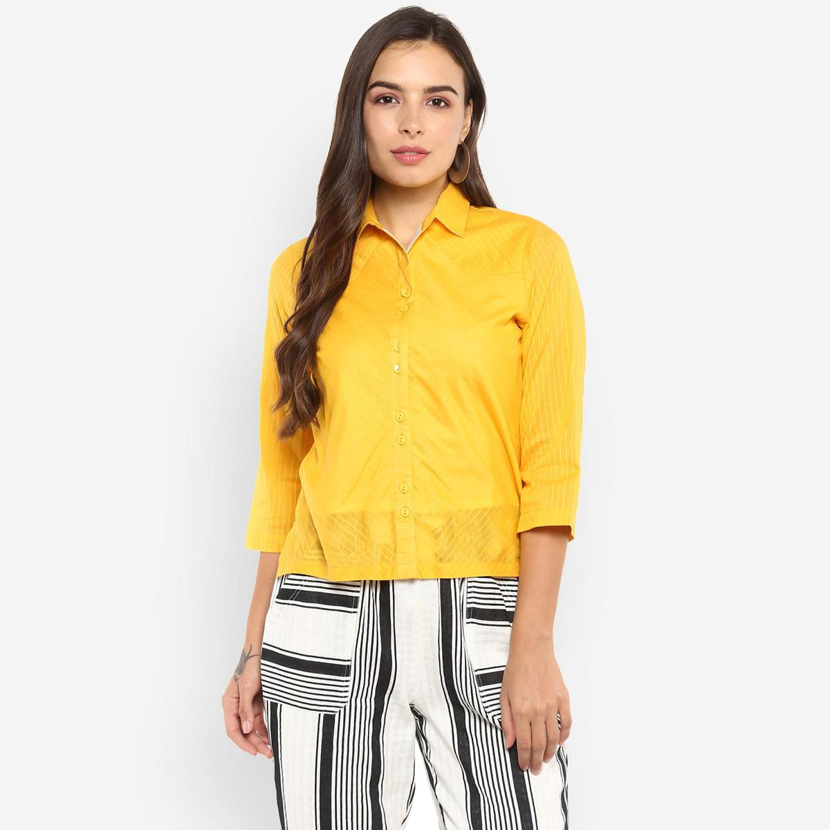 Ayaany - Yellow Colored Casual Wear Cotton Shirt