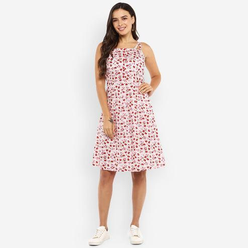 Ayaany - Pink Colored Casual Wear Printed Cotton Dress