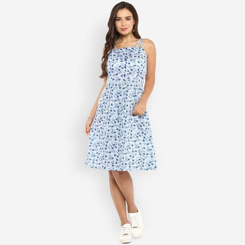 Ayaany - Blue Colored Casual Wear Printed Cotton Dress
