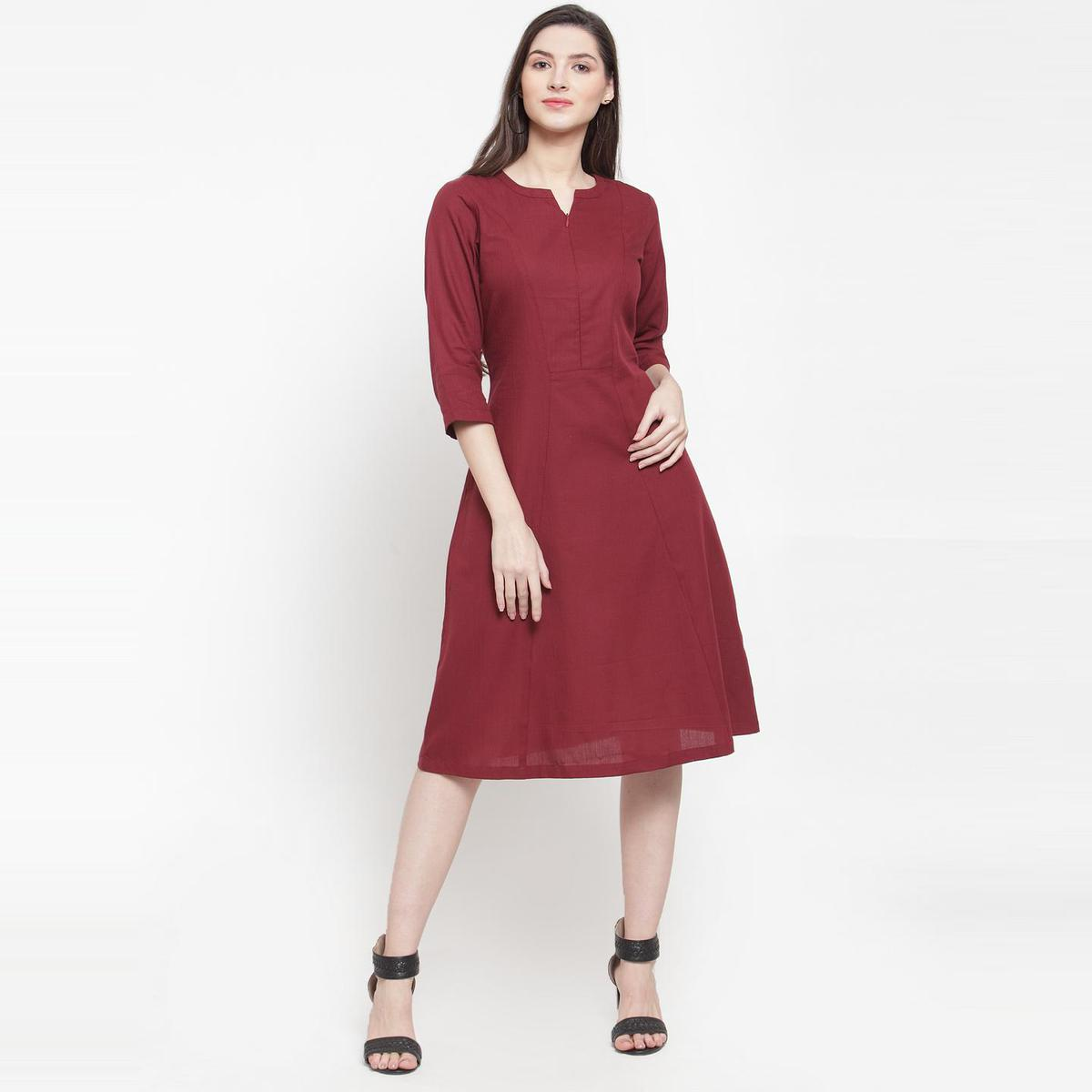 Ayaany - Maroon Colored Casual Wear Cotton Dress