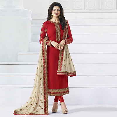 Red Embroidered Work Party Wear Churidar Suit