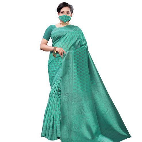 Attractive Green Colored Casual Wear Printed Art Silk Saree With Mask