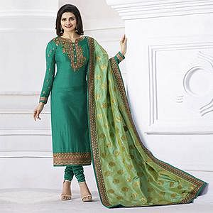 Green Georgette Straight Cut Suit