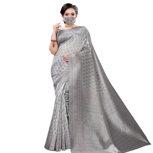 Beautiful Grey Colored Casual Wear Printed Art Silk Saree With Mask