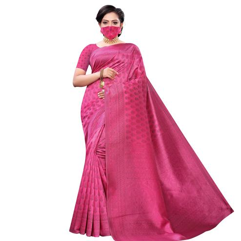 Graceful Pink Colored Casual Wear Printed Art Silk Saree With Mask