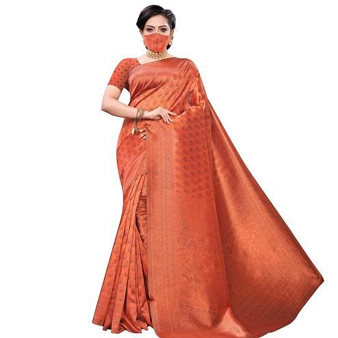 Blooming Orange Colored Casual Wear Printed Art Silk Saree With Mask