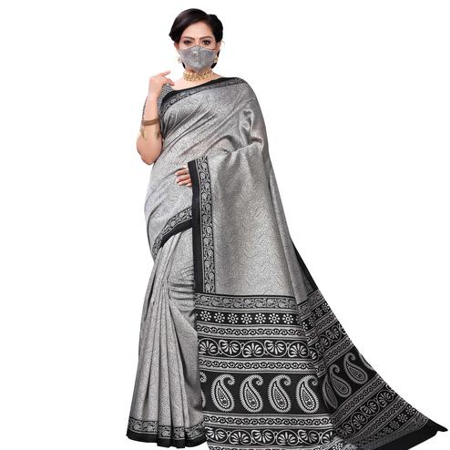 Charming Grey Colored Casual Wear Printed Art Silk Saree With Mask