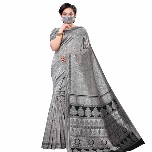 Jazzy Grey Colored Casual Wear Printed Art Silk Saree With Mask