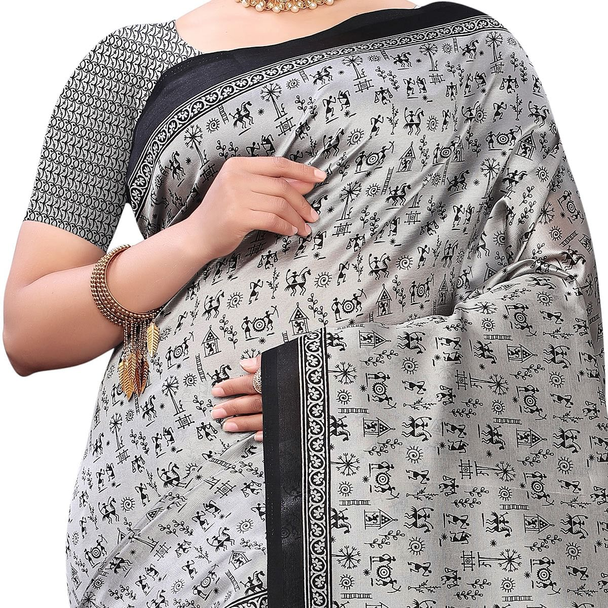 Delightful Grey Colored Casual Wear Printed Art Silk Saree With Mask