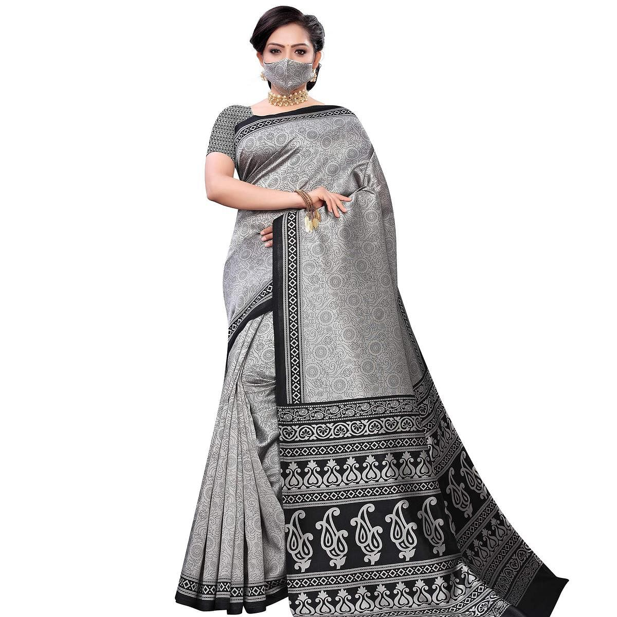 Engrossing Grey Colored Casual Wear Printed Art Silk Saree With Mask