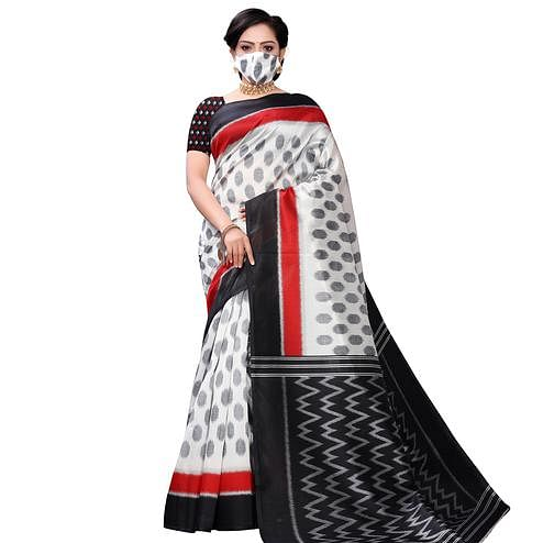 Captivating White-Red Colored Casual Wear Printed Art Silk Saree With Mask