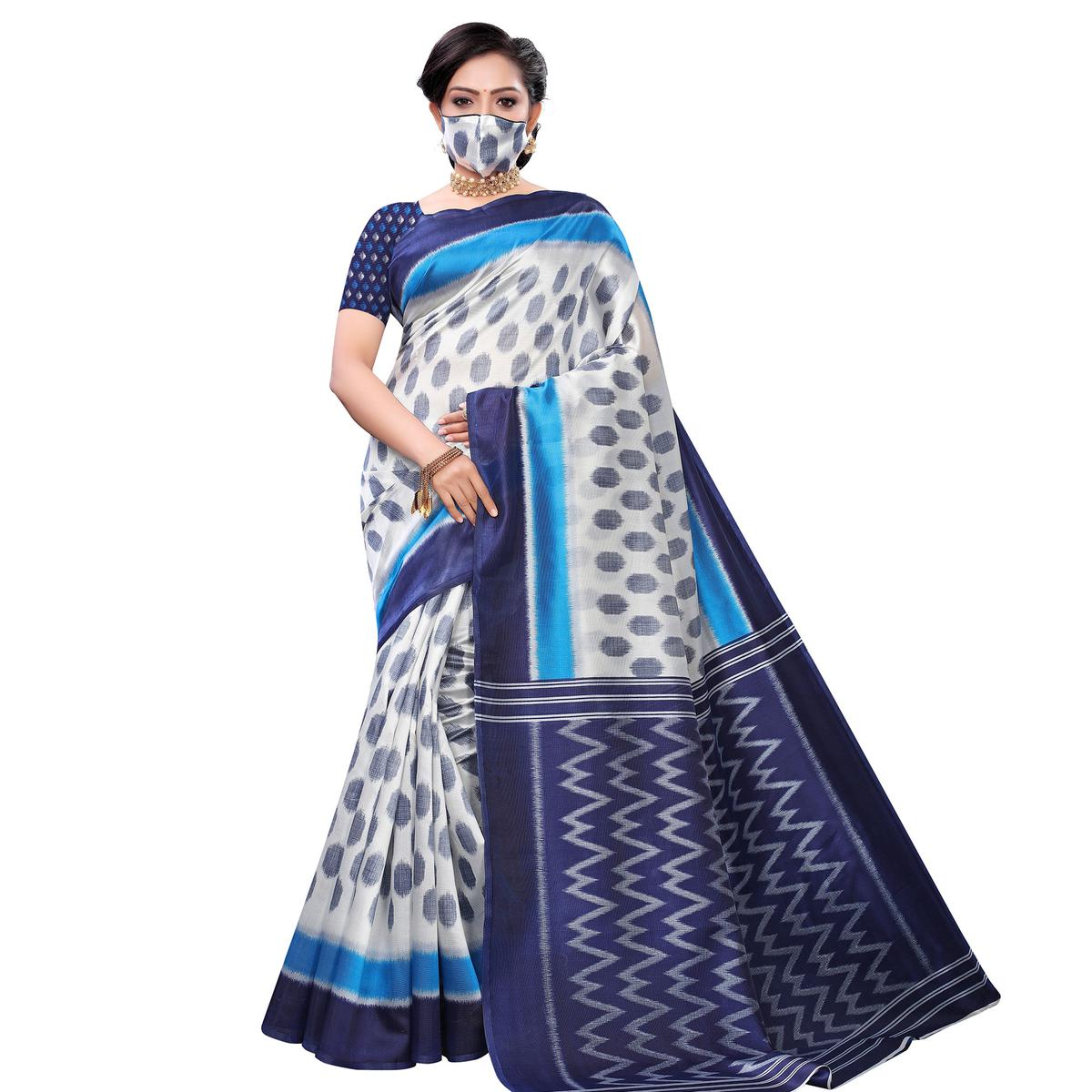 Innovative White-Blue Colored Casual Wear Printed Art Silk Saree With Mask