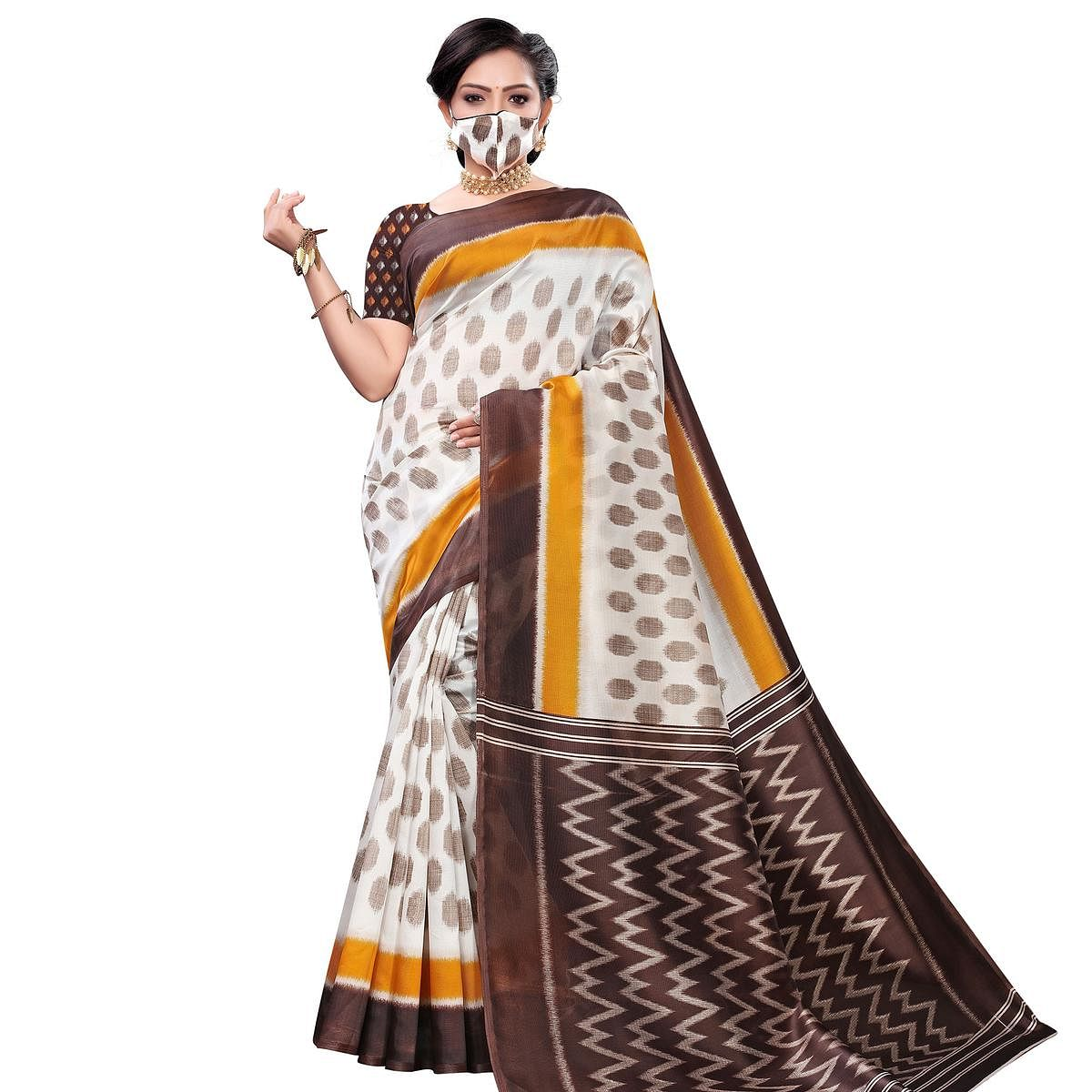 Eye-catching White-Yellow Colored Casual Wear Printed Art Silk Saree With Mask