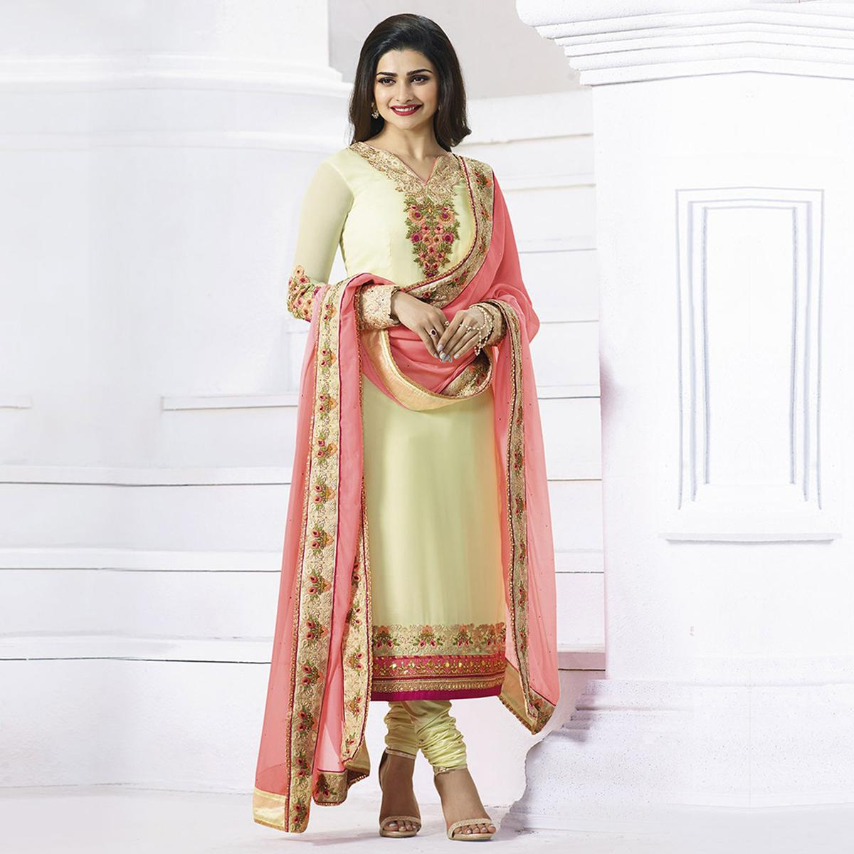 Cream Embroidered Work Churidar Suit