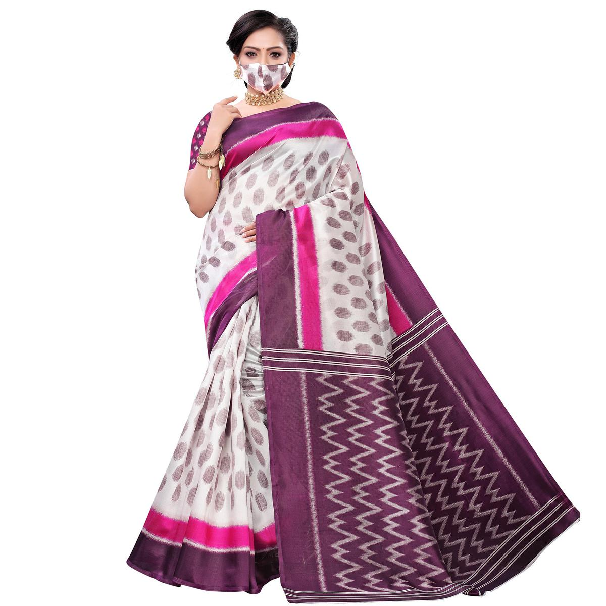 Fantastic White-Pink Colored Casual Wear Printed Art Silk Saree With Mask