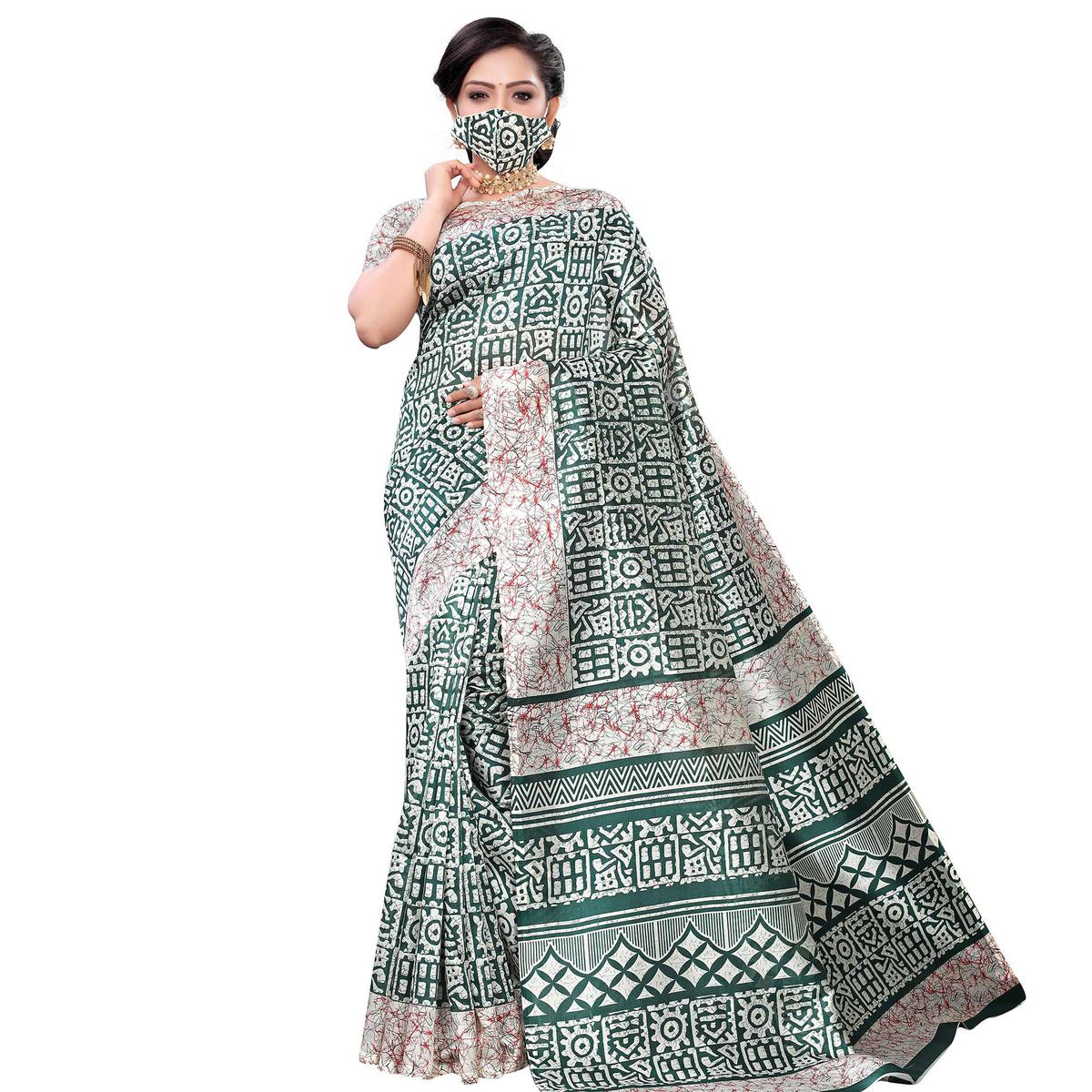 Amazing Green Colored Casual Wear Printed Art Silk Saree With Mask