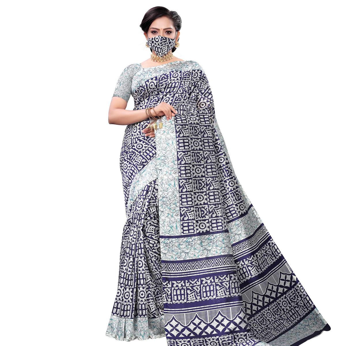 Gorgeous Blue Colored Casual Wear Printed Art Silk Saree With Mask