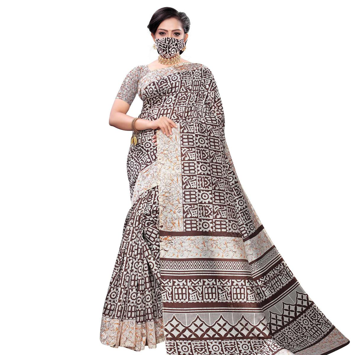 Blissful Brown Colored Casual Wear Printed Art Silk Saree With Mask