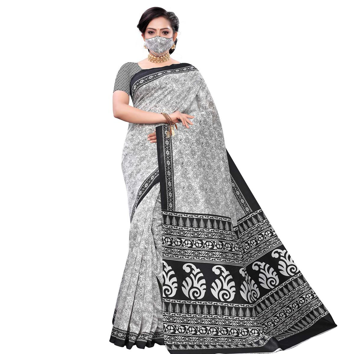 Imposing White-Black Colored Casual Wear Printed Art Silk Saree With Mask