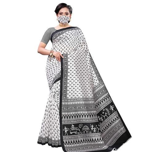 Lovely White-Black Colored Casual Wear Printed Art Silk Saree With Mask