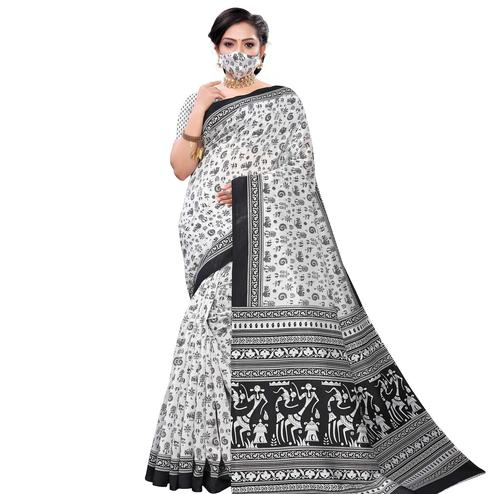 Majesty White-Black Colored Casual Wear Printed Art Silk Saree With Mask