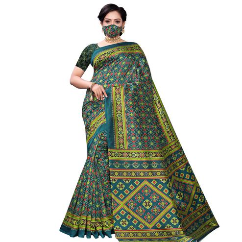 Intricate Teal Green Colored Casual Wear Printed Art Silk Saree With Mask