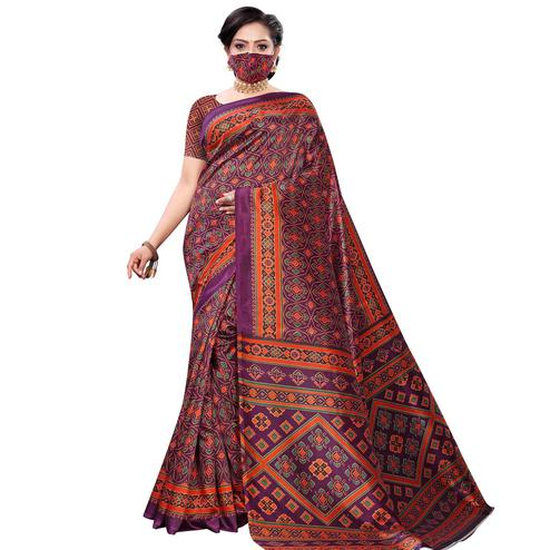 Arresting Wine Colored Casual Wear Printed Art Silk Saree With Mask