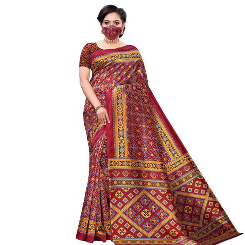 Desirable Maroon Colored Casual Wear Printed Art Silk Saree With Mask