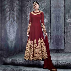 Mesmerising Maroon Pure Georgette Floor Length Anarkali Suit