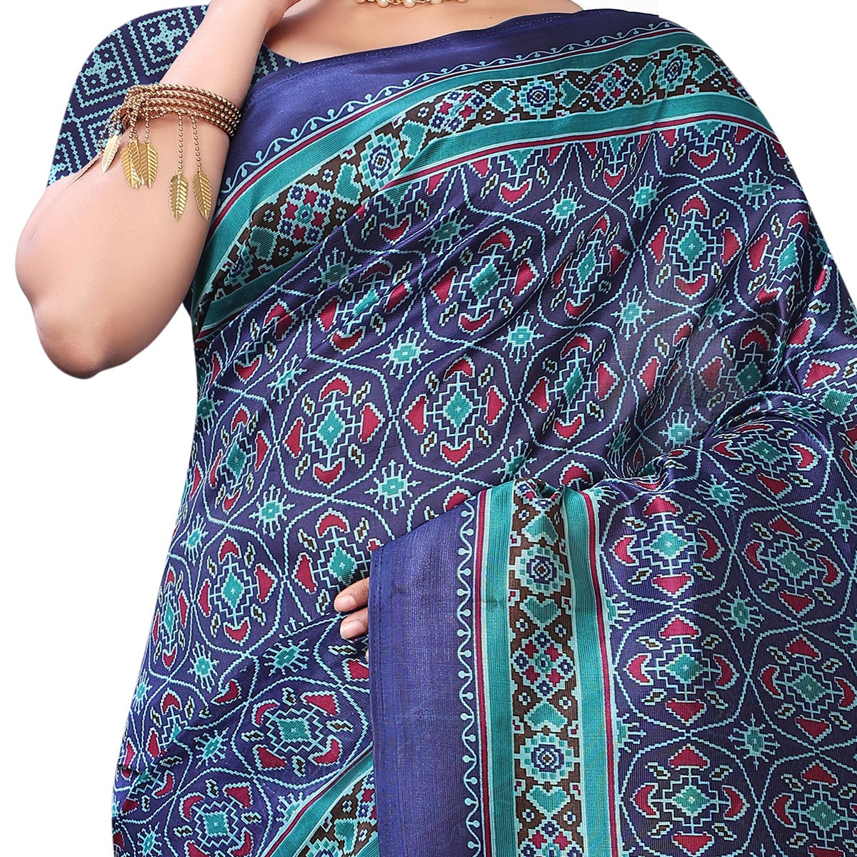 Exotic Blue Colored Casual Wear Printed Art Silk Saree With Mask