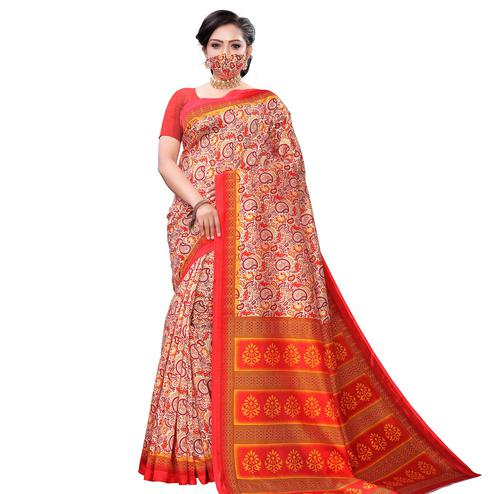 Opulent Orange Colored Casual Wear Printed Art Silk Saree With Mask