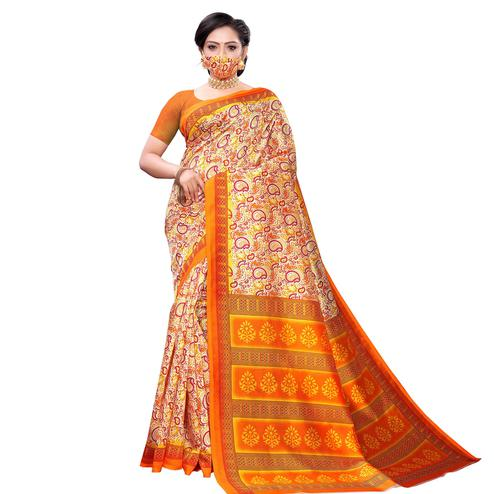 Energetic Yellow Colored Casual Wear Printed Art Silk Saree With Mask