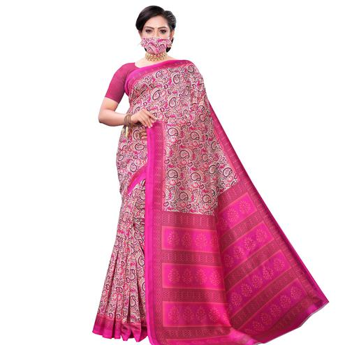 Glowing Pink Colored Casual Wear Printed Art Silk Saree With Mask