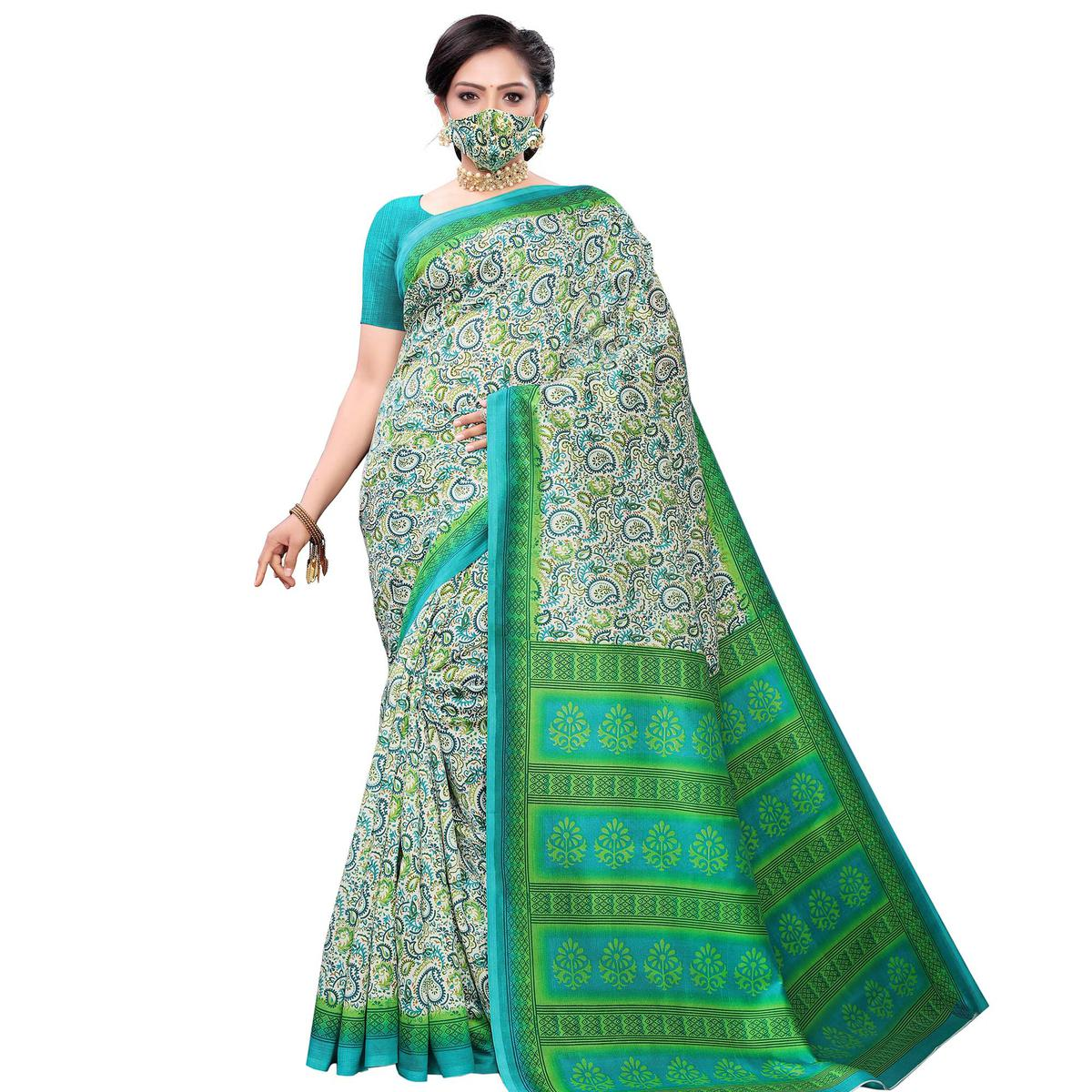 Exceptional Green Colored Casual Wear Printed Art Silk Saree With Mask